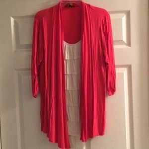 """1X one piece ruffle top with attached """"sweater"""""""